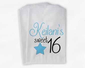 Sweet 16 Birthday Personalized Candy Buffet Bags - Light Turquoise Star Custom Favor Bags - 25 Paper Treat Bags (0081)