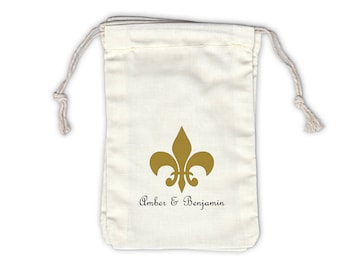 Fleur De Lis Personalized Cotton Favor Bags for Weddings, Parties, in Black and Gold - Ivory Fabric Drawstring Bags - Set of 12 (1030)