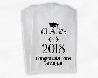 Class of 2018 Personalized Treat Bags - Set of 25 Black & White High School Graduation Party Custom Favor Bags in School Colors (0214)