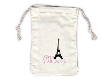 Merci Eiffel Tower Cotton Favor Bags for Weddings, Parties, in Black and Pink - Ivory Fabric Drawstring Bags - Set of 12 (1004)