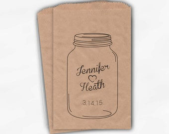 Mason Jar Personalized Wedding Candy Buffet Treat Bags - Favor Bags with Heart, Names and Date - Custom Kraft Paper Bags (0131)