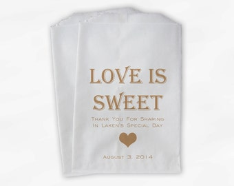 Love Is Sweet Bridal Shower Candy Buffet Treat Bags - Personalized Favor Bags in Tan - Set of 25 Custom Paper Bags (0167)