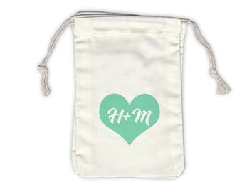 Heart with Initials Cotton Bags for Wedding Favors in Mint Green - Ivory Fabric Drawstring Bags - Set of 12 (1010)