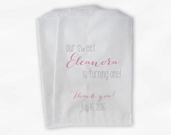 Sweet Girl Turning One Birthday Party Candy Buffet Treat Bags - Set of 25 Light Pink Personalized Favor Bags (0213)