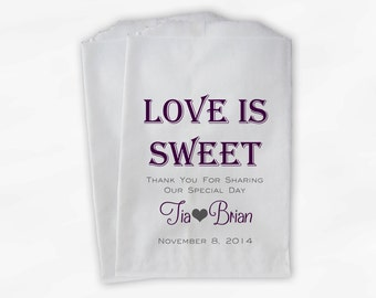 Love Is Sweet Wedding Candy Buffet Treat Bags - Personalized Favor Bags in Red Violet and Charcoal Gray - Custom Paper Bags (0069)
