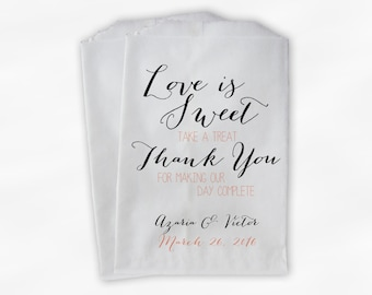 Love Is Sweet Our Day Complete Wedding Candy Buffet Treat Bags - Handwritten Favor Bags in Black and Melon - Custom Paper Bags (0169)