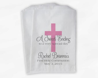 First Communion Favor Bags - Baptism or Religious Party Custom Favor Bags - Set of 25 Pink and Gray Paper Treat Bags (0073)