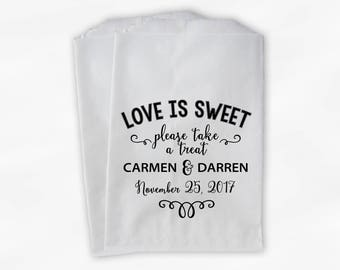 Love Is Sweet Please Take a Treat Personalized Wedding Candy Buffet Treat Bags - Favor Bags in Black - Set of 25 Paper Bags (0202)