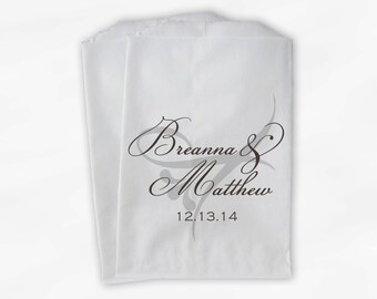 Candy Buffet Treat Bags Personalized in Coffee & Silver - Favor Bags with Bride and Groom Names and Wedding Date - Custom Paper Bags (0042)
