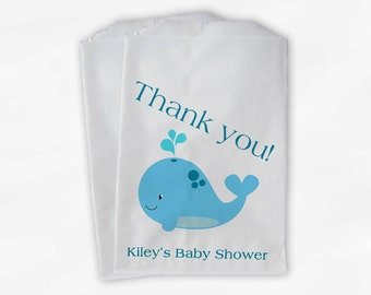 Whale Baby Shower Favor Bags - Boy or Girl Custom Treat Bags for Baby Shower - 25 Paper Bags (0019)