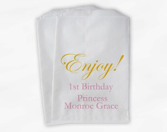 Enjoy Birthday Party Candy Buffet Treat Bags - Pink & Gold Personalized Favor Bags - Princess First Birthday - 25 Custom Paper Bags (0086)