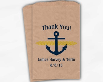 Nautical Anchor Wedding Favor Bags - Personalized Navy Blue and Yellow Custom Treat Bags for Candy Buffet - Brown Kraft Paper Bags (0047-2)