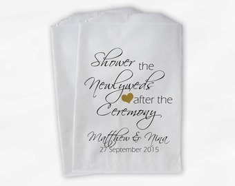 Shower the Couple Confetti Toss Bags - Personalized Gold and Black After Ceremony Custom Paper Bags for Bird Seed, Lavender, Petals (0096)