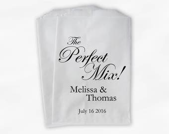 The Perfect Mix Wedding Candy Buffet Treat Bags - Black Personalized Favor Bags with Names and Date - Custom Paper Bags (0158)