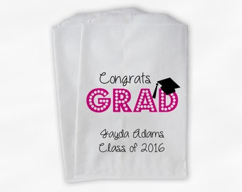 2018 Congrats Grad Graduation Party Personalized Candy Buffet Bags - Set of 25 Hot Pink High School Favor Bags in School Colors (0191)
