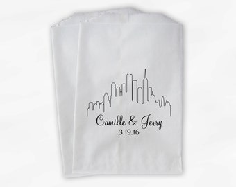 City Skyline Candy Treat Bags in Black - Personalized Favor Bags for Wedding, Birthday, Shower - Paper Bags (0159)
