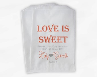 Love Is Sweet Wedding Candy Buffet Treat Bags - Personalized Favor Bags in Coral and Gray - Custom Paper Bags (0069)