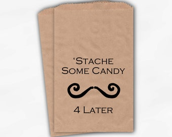 Mustache Candy Buffet Favor Bags in Brown Kraft Paper - Stash Some Candy Treat Bags for Little Man Party, Wedding - 25 Paper Bags (0014)