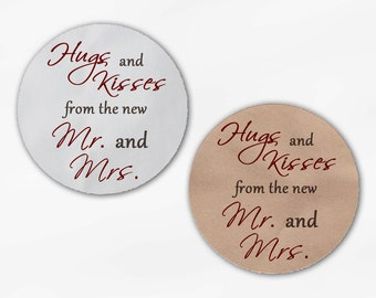 Hugs and Kisses From the New Mr. and Mrs. Wedding Favor Stickers - Maroon and Brown Custom Round Labels (2015)