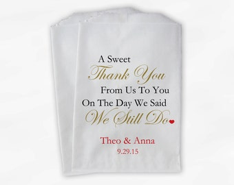 Sweet Thank You Anniversary Candy Buffet Treat Bags - Gold and Red Personalized Favor Bags - We Still Do Set of 25 Bags (0166)