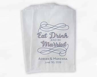 Eat Drink and Be Married Favor Bags in Navy and Light Pink - Personalized Calligraphy Favor Bags - Set of 25 Paper Treat Bags (0210)
