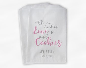 All You Need Is Love and Cookies Wedding Candy Buffet Treat Bags - Personalized Paper Favor Bags in Pink and Gray - Set of 25 Bags