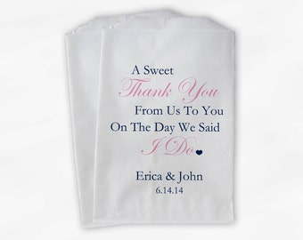 Sweet Thank You Wedding Candy Buffet Treat Bags - Navy and Pink  Personalized Favor Bags with Couple's Names and Wedding Date (0054)