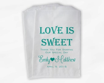 Love Is Sweet Wedding Candy Buffet Treat Bags - Mr and Mrs Personalized Favor Bags in Teal - Custom Paper Bags (0069)