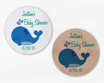 Whale Baby Shower Stickers - Personalized Teal Blue Custom White Or Kraft Round Labels for Bag Seals, Envelopes, Mason Jars (2036)