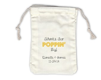 Thanks for Poppin By Personalized Cotton Bags for Wedding Favors in Yellow and Gray - Ivory Fabric Drawstring Bags - Set of 12 (1015)