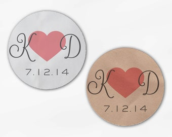 Initials and Heart Wedding Favor Stickers - Rose Pink, Gray Custom Candy Buffet White, Kraft Round Labels for Bag Seals, Envelopes (2021)