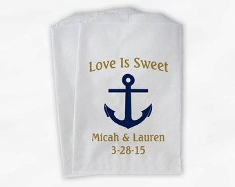 Nautical Anchor Wedding Favor Bags - Love Is Sweet Personalized Navy Blue and Gold Custom Treat Bags for Candy Buffet - Paper Bags (0047)
