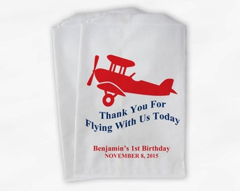 Personalized Airplane Party Candy Favor Bags - Thanks For Flying Custom Treat Bags for First Birthday - 25 Paper Bags (0018)