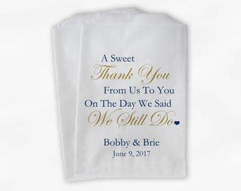 Sweet Thank You Anniversary Candy Buffet Treat Bags - Gold and Navy Blue Personalized Favor Bags - We Still Do Set of 25 Bags (0166)
