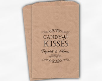 Candy and Kisses Favor Bags for Wedding Candy Buffet - Personalized Favor Bags for Wedding, Shower - Black on Kraft Paper Treat Bags (0192)