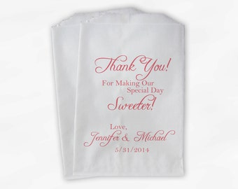 Thank You for Making Our Day Sweeter Wedding Candy Buffet Treat Bags - Coral Personalized Favor Bags- Custom Paper Bags (0072)