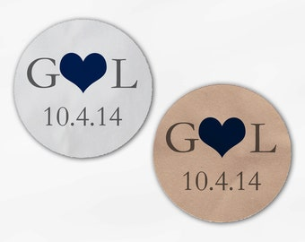 Initials and Heart Wedding Favor Stickers - Navy and Gray Custom White Or Kraft Round Labels for Bag Seals, Envelopes, Mason Jars (2004)