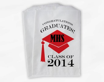2018 Graduation Cap Personalized Candy Buffet Bags - Red Black High School Grad Party Custom Favor Bags in School Colors - 25 Bags (0060)