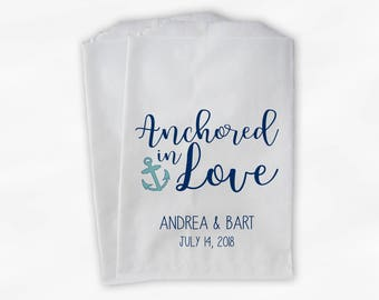 Anchored in Love Candy Buffet Treat Bags - Nautical Wedding Favor Bags with Anchor in Navy and Light Teal - 25 Custom Paper Bags (0206)