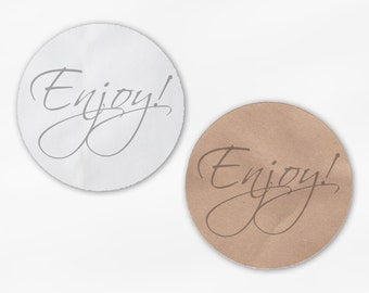 Enjoy Wedding Favor Stickers - Custom Light Gray Candy Buffet White Or Kraft Round Labels for Bag Seals, Envelopes, Mason Jars (2031)