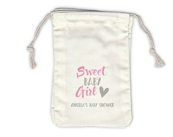 Sweet Baby Girl Personalized Baby Shower Cotton Bags for Favors in Pink and Gray - Ivory Fabric Drawstring Bags - Set of 12 (1039)