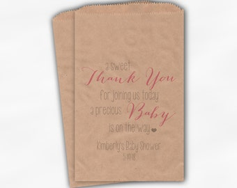 Sweet Thank You Baby Shower Candy Buffet Treat Bags - Baby Girl Pink and Gray Personalized Favor Bags - Set of 25 Kraft Paper Bags