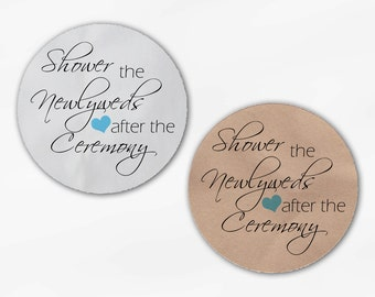 Shower the Newlyweds Wedding Favor Stickers - Aqua Custom White Or Kraft Round Labels for Bag Seals, Envelopes (2026)