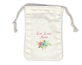 Let Love Grow Vintage Floral Cotton Bags for Seed Packet Wedding Favors in Pink and Aqua - Ivory Fabric Drawstring Bags - Set of 12 (1040)