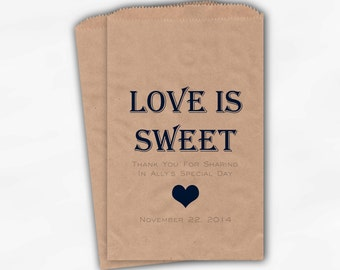Love Is Sweet Wedding Candy Buffet Treat Bags - Personalized Favor Bags in Navy and Gray - 25 Kraft Paper Custom Paper Bags (0167)