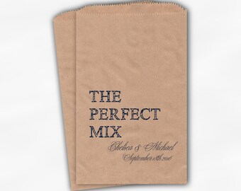 The Perfect Mix Candy Buffet Treat Bags - Navy Blue Personalized Wedding Favor Bags with Names and Date - Custom Kraft Paper Bags (0178)