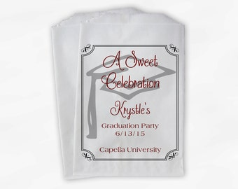 Graduation Favor Bags - 2018 Sweet Celebration Party Custom Favor Bags - Set of 25 Maroon Paper Treat Bags (0076)