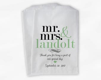 Mr & Mrs Candy Buffet Bags - Personalized Last Name Wedding Favor Bags - Black and Light Green Paper Treat Bags (0188)
