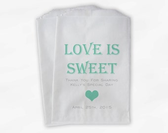 Love Is Sweet Candy Buffet Treat Bags - Personalized Bridal Shower Favor Bags in Mint Green - 25 Custom Paper Bags (0167)