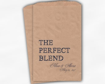 The Perfect Blend Coffee Favor Bags - Navy Blue Personalized Wedding Favor Bags with Names and Date - Custom Kraft Paper Bags (0219)